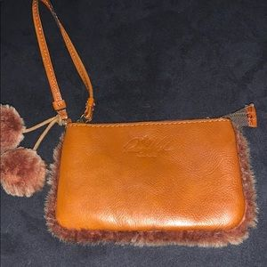 Patricia Nash leather and fur wristlet